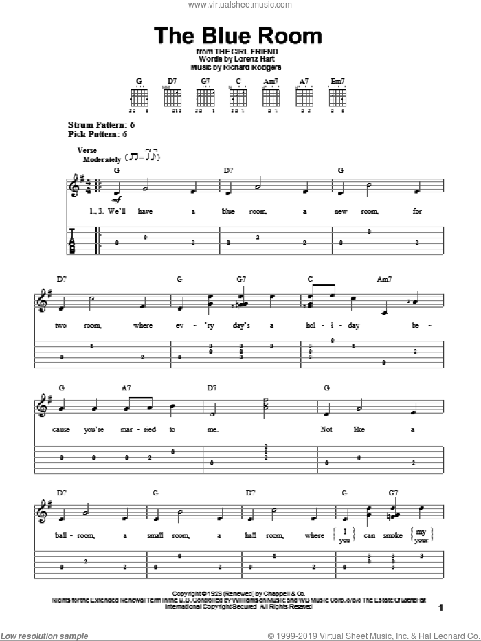 The Blue Room sheet music for guitar solo (easy tablature) by Richard Rodgers, Rodgers & Hart and Lorenz Hart. Score Image Preview.