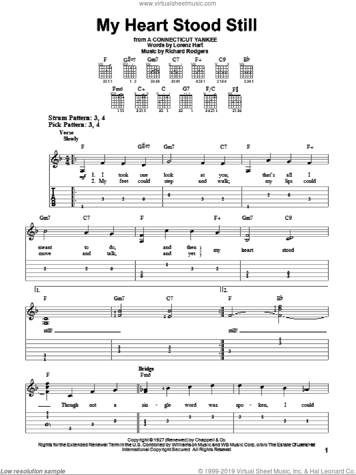 My Heart Stood Still sheet music for guitar solo (easy tablature) by Rodgers & Hart, Lorenz Hart and Richard Rodgers, easy guitar (easy tablature). Score Image Preview.