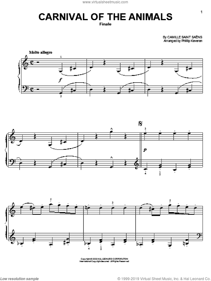 Carnival Of The Animals (Finale) sheet music for piano solo by Camille Saint-Saens and Phillip Keveren, classical score, easy skill level