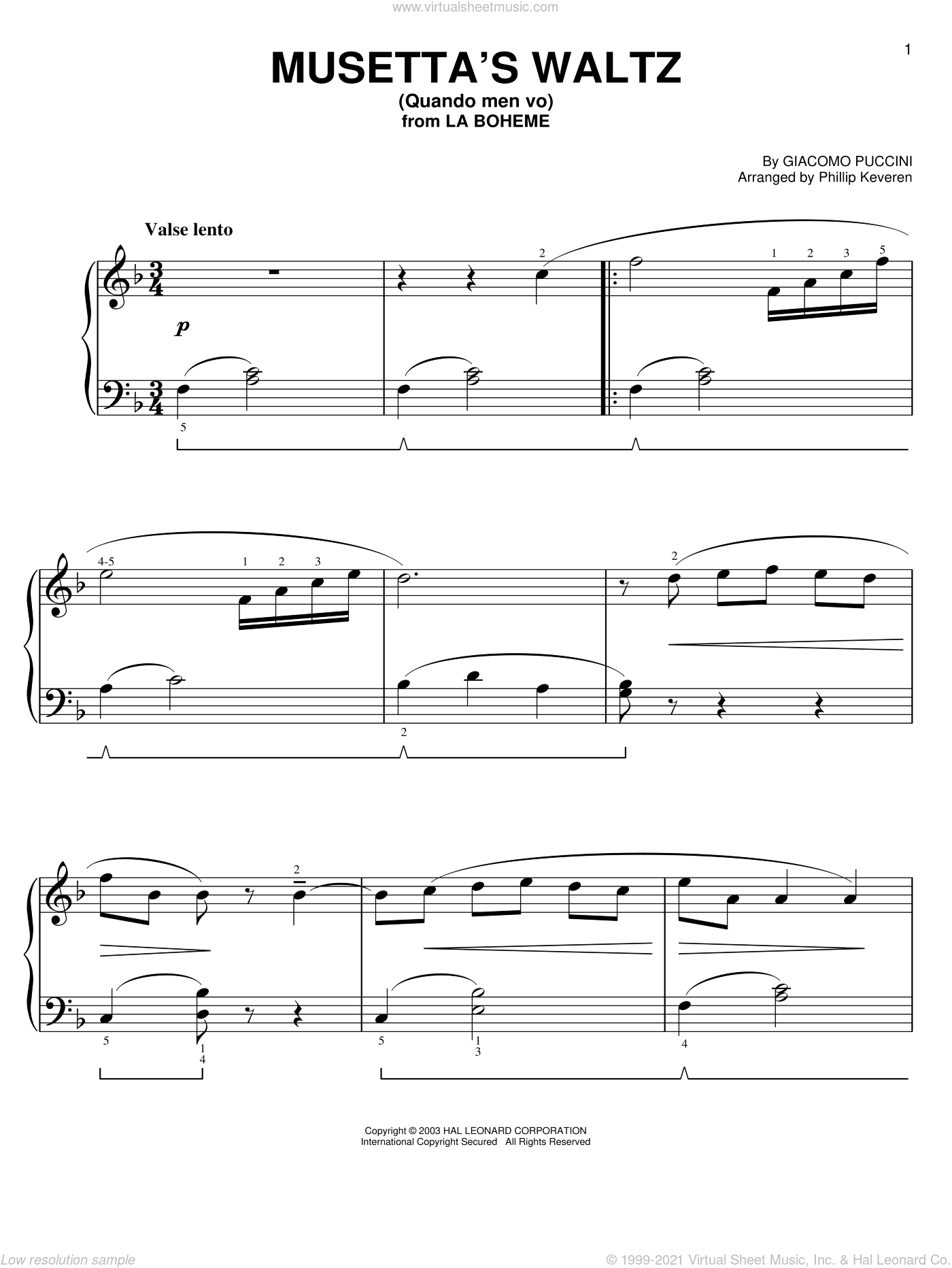 Musetta's Waltz (Quando Men Vo) sheet music for piano solo (chords) by Luigi Illica