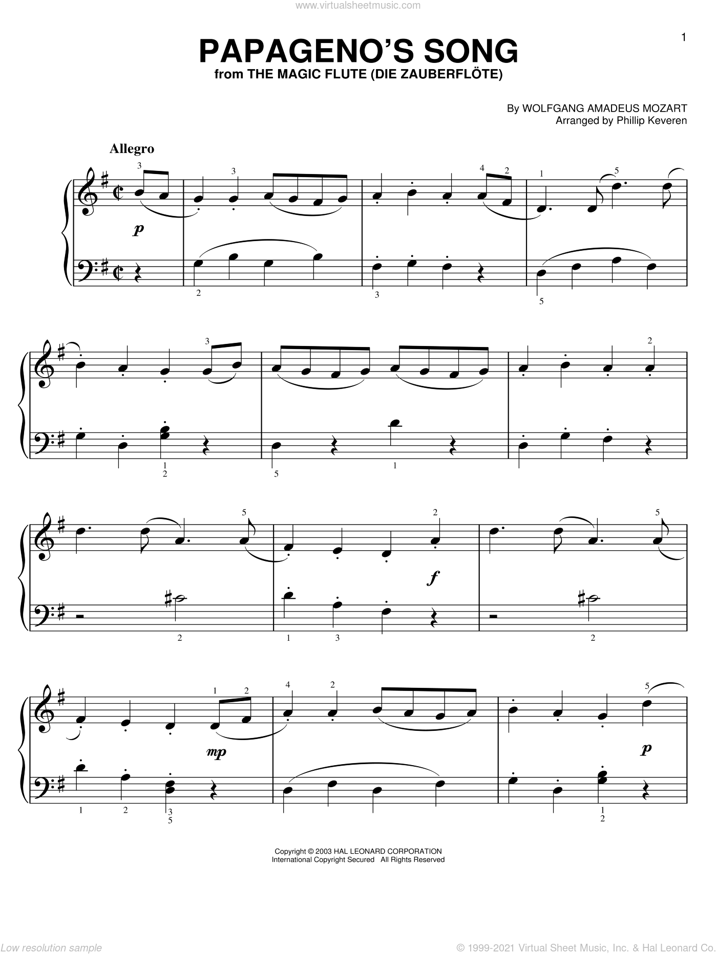 Papageno's Song sheet music for piano solo by Wolfgang Amadeus Mozart and Phillip Keveren, classical score, easy skill level