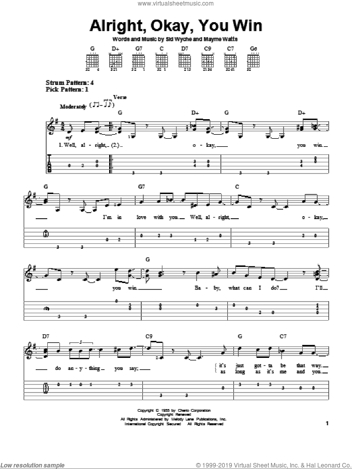 Alright, Okay, You Win sheet music for guitar solo (easy tablature) by Peggy Lee, Mayme Watts and Sid Wyche, easy guitar (easy tablature). Score Image Preview.