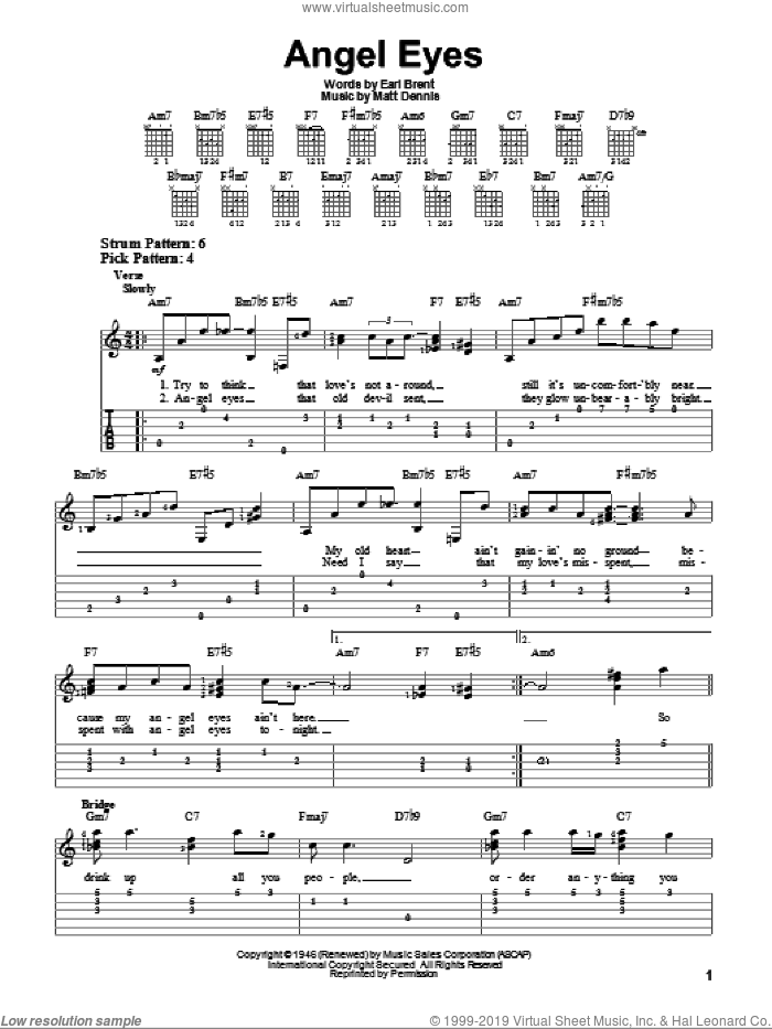 Angel Eyes sheet music for guitar solo (easy tablature) by Earl Brent and Matt Dennis. Score Image Preview.