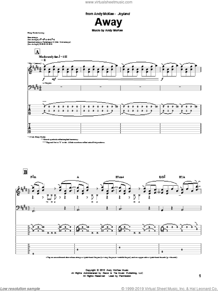 Away sheet music for guitar (tablature) by Andy McKee, intermediate guitar (tablature). Score Image Preview.