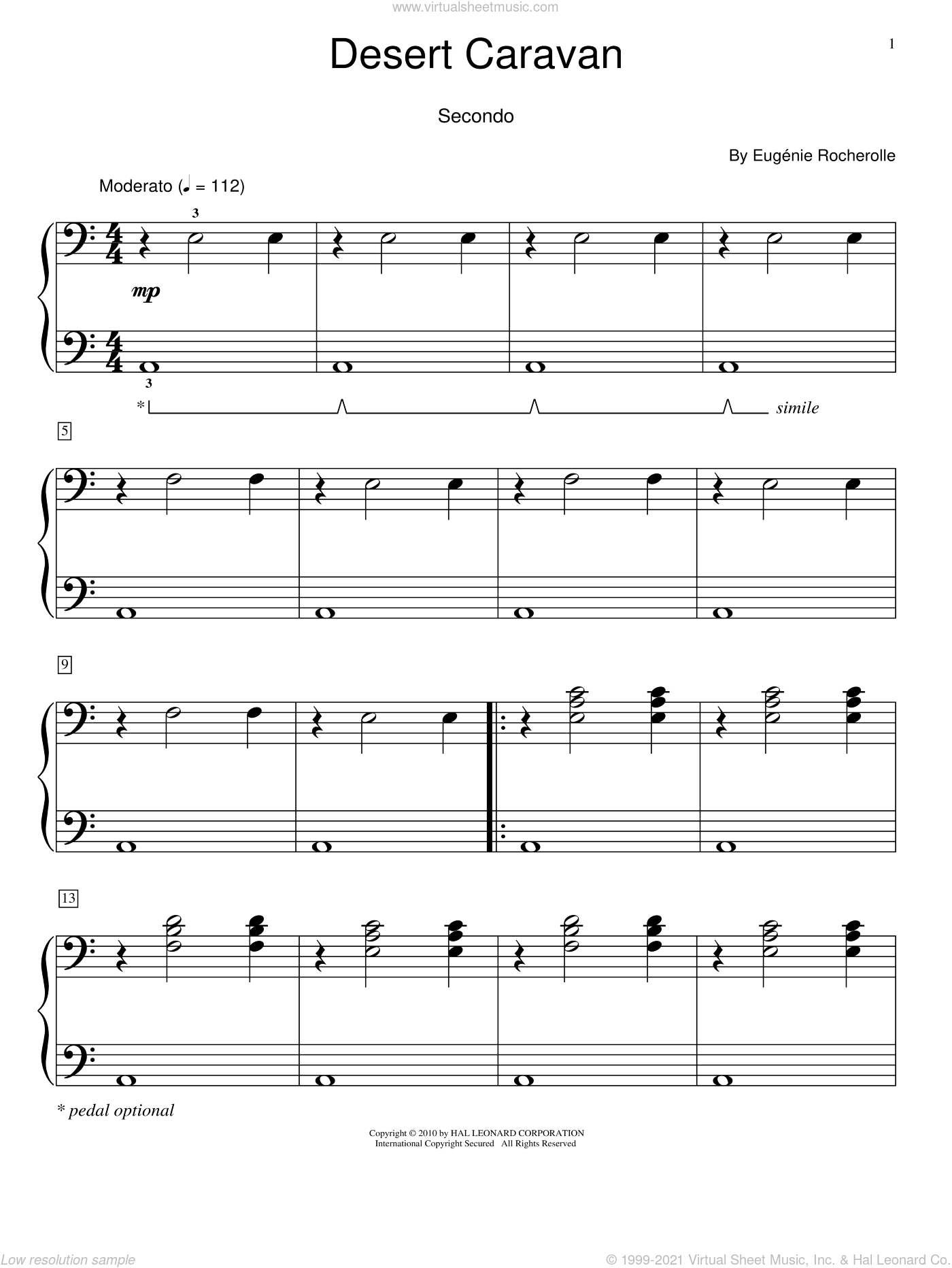 Desert Caravan sheet music for piano four hands by Eugenie Rocherolle and Miscellaneous, intermediate skill level