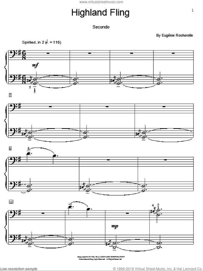 Highland Fling sheet music for piano four hands by Eugenie Rocherolle and Miscellaneous, intermediate. Score Image Preview.