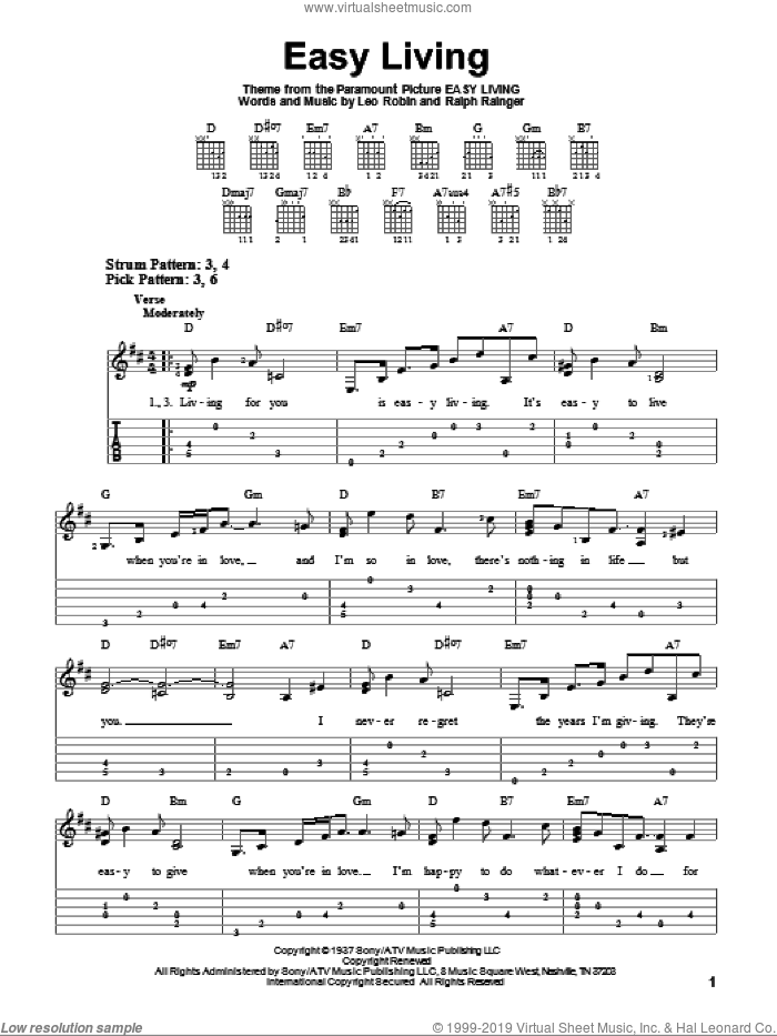 Easy Living sheet music for guitar solo (easy tablature) by Ralph Rainger, Billie Holiday and Leo Robin. Score Image Preview.