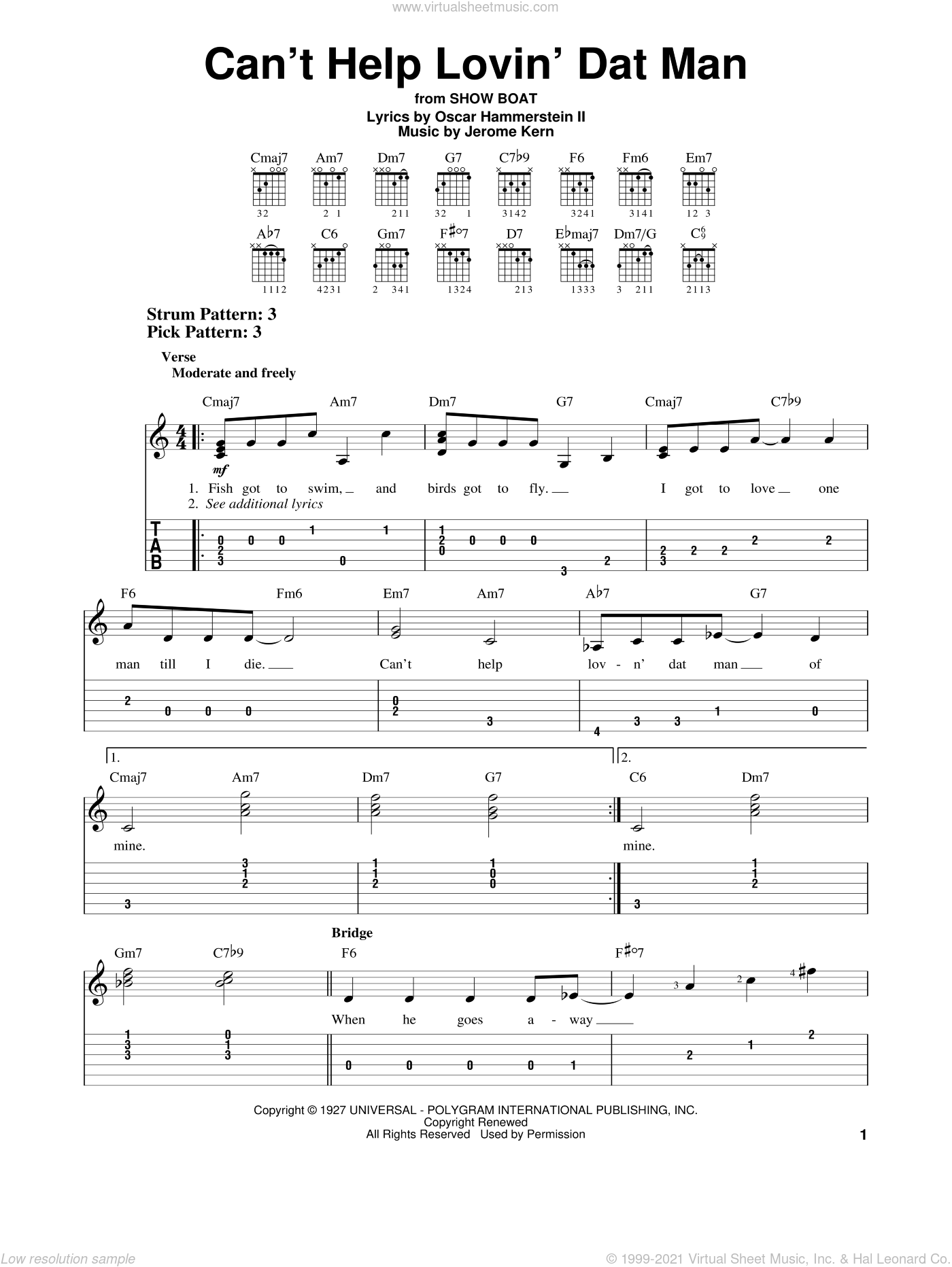 Can't Help Lovin' Dat Man sheet music for guitar solo (easy tablature) by Jerome Kern and Oscar II Hammerstein, easy guitar (easy tablature)