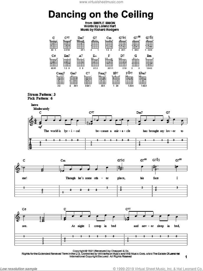 Dancing On The Ceiling sheet music for guitar solo (easy tablature) by Richard Rodgers, Rodgers & Hart and Lorenz Hart. Score Image Preview.