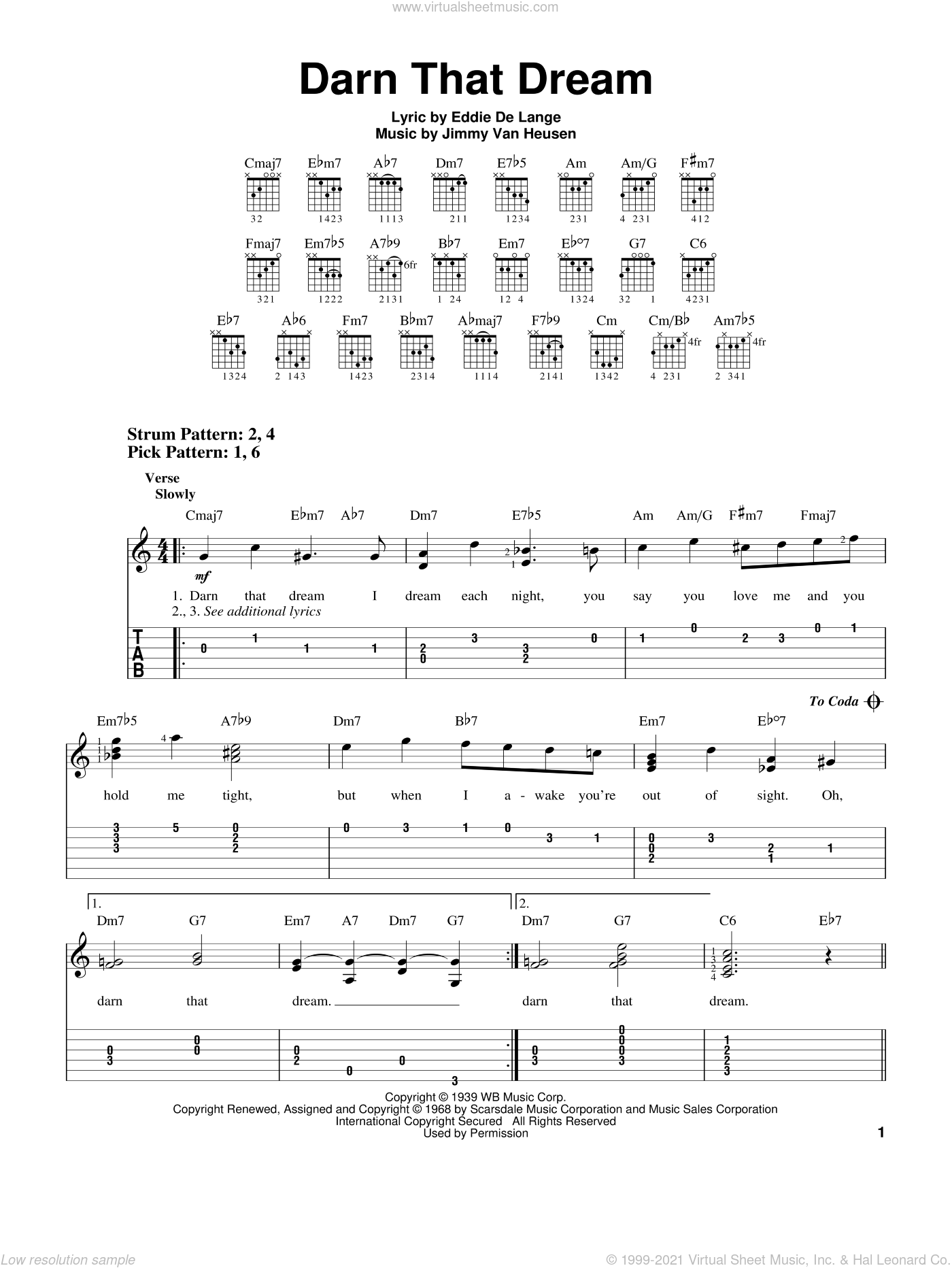 Darn That Dream sheet music for guitar solo (easy tablature) by Jimmy Van Heusen and Eddie DeLange, easy guitar (easy tablature)