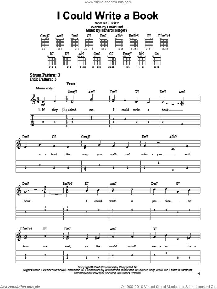 I Could Write A Book sheet music for guitar solo (easy tablature) by Rodgers & Hart, Lorenz Hart and Richard Rodgers, easy guitar (easy tablature). Score Image Preview.