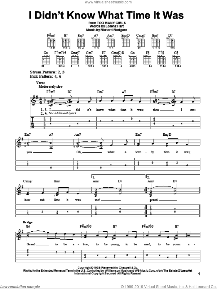 I Didn't Know What Time It Was sheet music for guitar solo (easy tablature) by Richard Rodgers