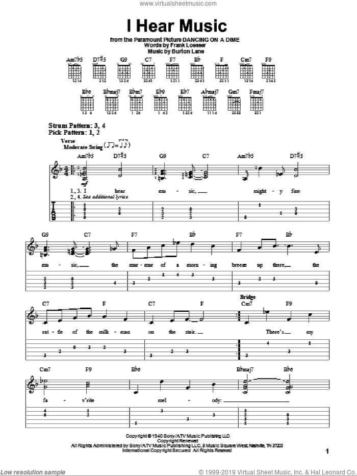 I Hear Music sheet music for guitar solo (easy tablature) by Frank Loesser and Burton Lane, easy guitar (easy tablature)