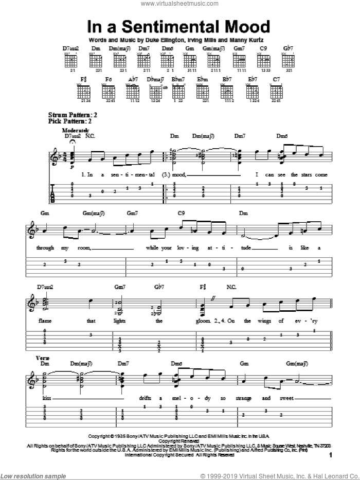 In A Sentimental Mood sheet music for guitar solo (easy tablature) by Duke Ellington, Irving Mills and Manny Kurtz, easy guitar (easy tablature). Score Image Preview.