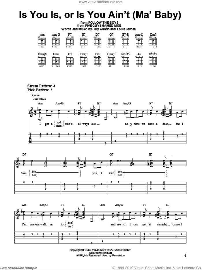 Is You Is, Or Is You Ain't (Ma' Baby) sheet music for guitar solo (easy tablature) by Billy Austin