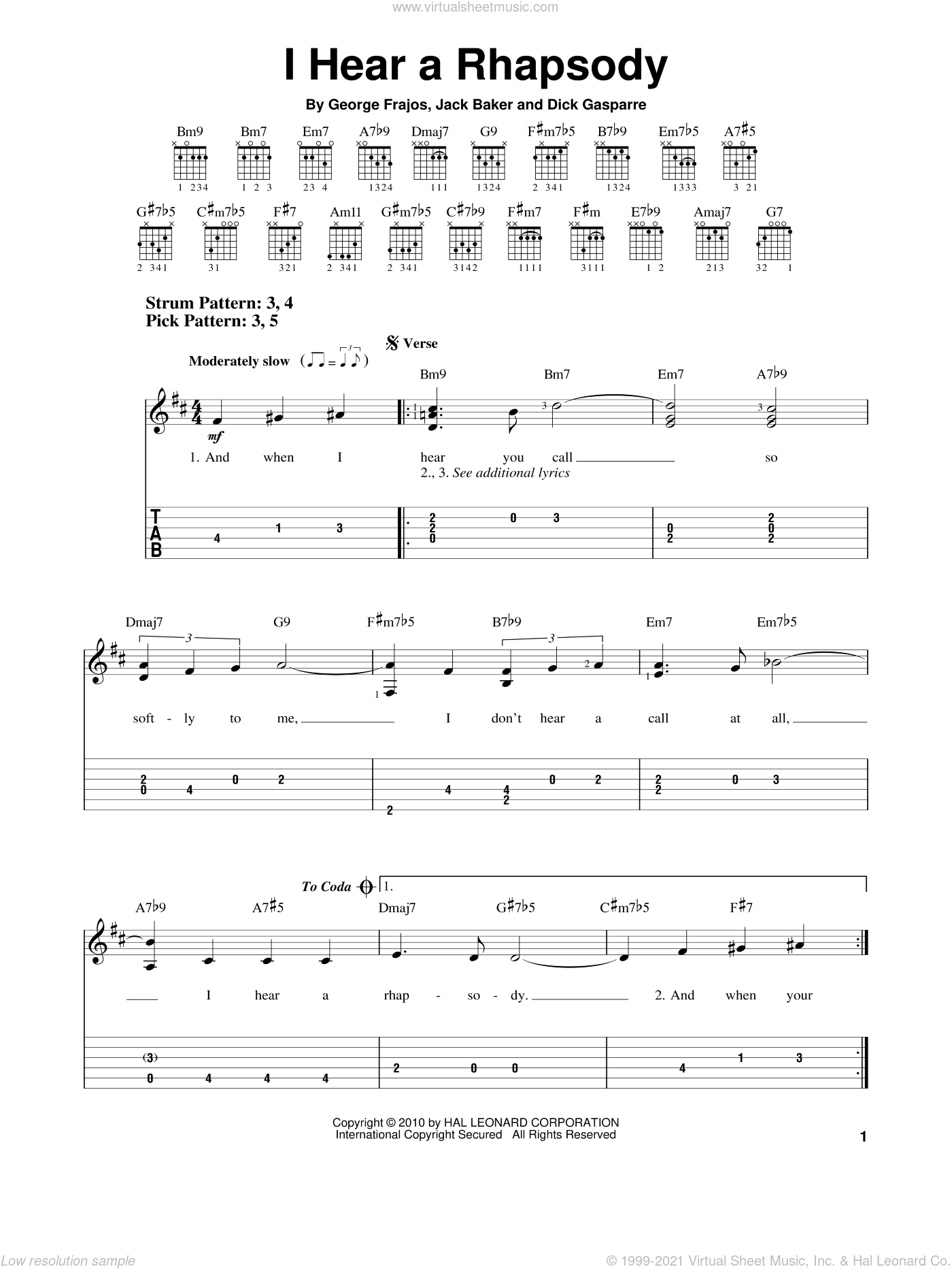 I Hear A Rhapsody sheet music for guitar solo (easy tablature) by Jack Baker, Dick Gasparre and George Frajos, easy guitar (easy tablature)