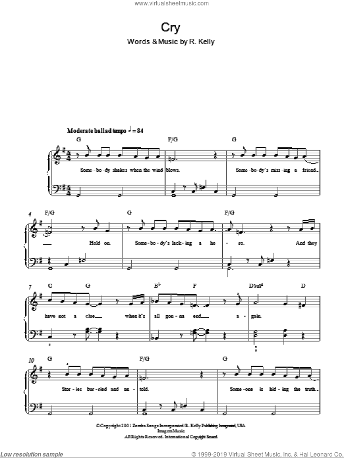 Cry sheet music for piano solo by Michael Jackson and Robert Kelly, easy skill level