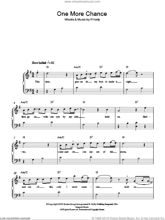 One More Chance sheet music for piano solo by Michael Jackson and Robert Kelly, easy skill level