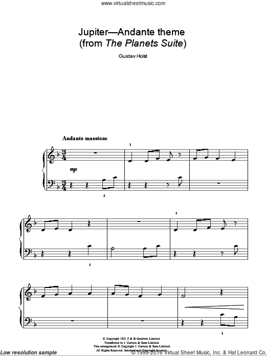 Jupiter (from The Planets Op. 32) sheet music for piano solo by Gustav Holst. Score Image Preview.