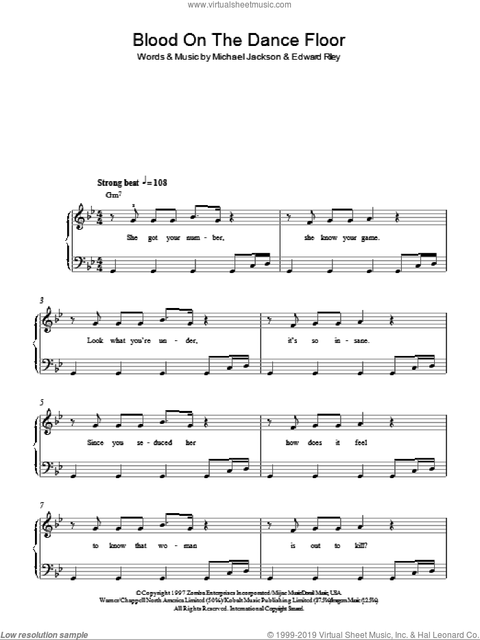 Blood On The Dance Floor sheet music for piano solo by Michael Jackson and Edward Riley, easy skill level