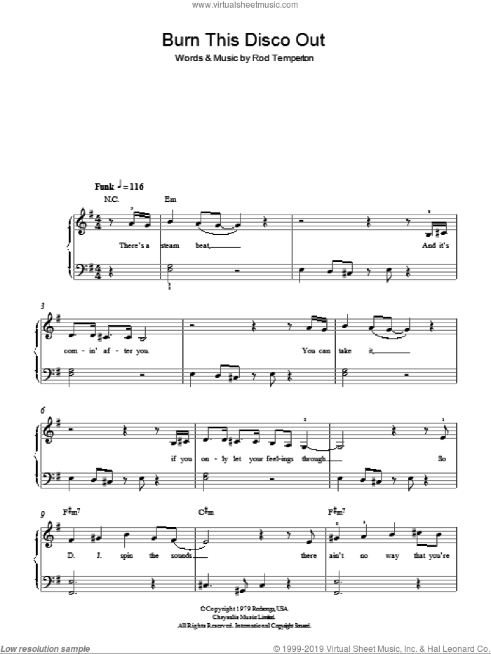 Burn This Disco Out sheet music for piano solo by Michael Jackson and Rod Temperton, easy skill level