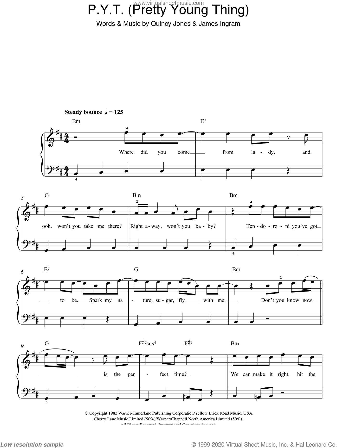 P.Y.T. (Pretty Young Thing) sheet music for piano solo by Michael Jackson, James Ingram and Quincy Jones, easy skill level