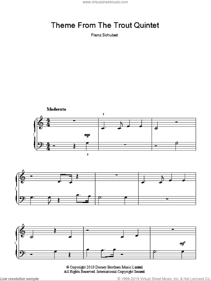 Theme From The Trout Quintet (Die Forelle) sheet music for piano solo (chords) by Franz Schubert