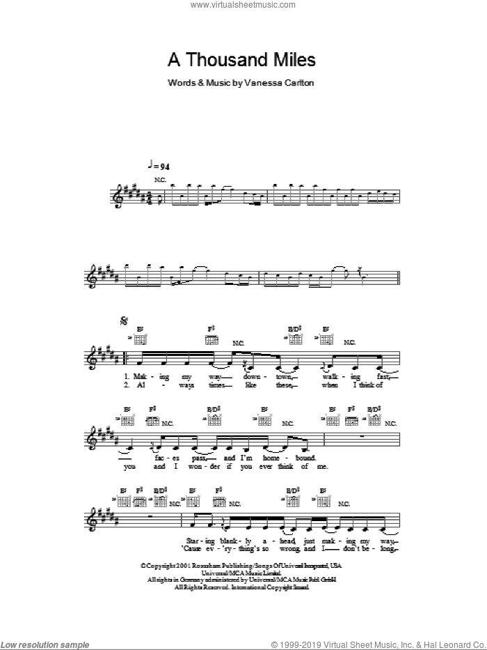 A Thousand Miles sheet music for voice and other instruments (fake book) by Vanessa Carlton, intermediate voice. Score Image Preview.