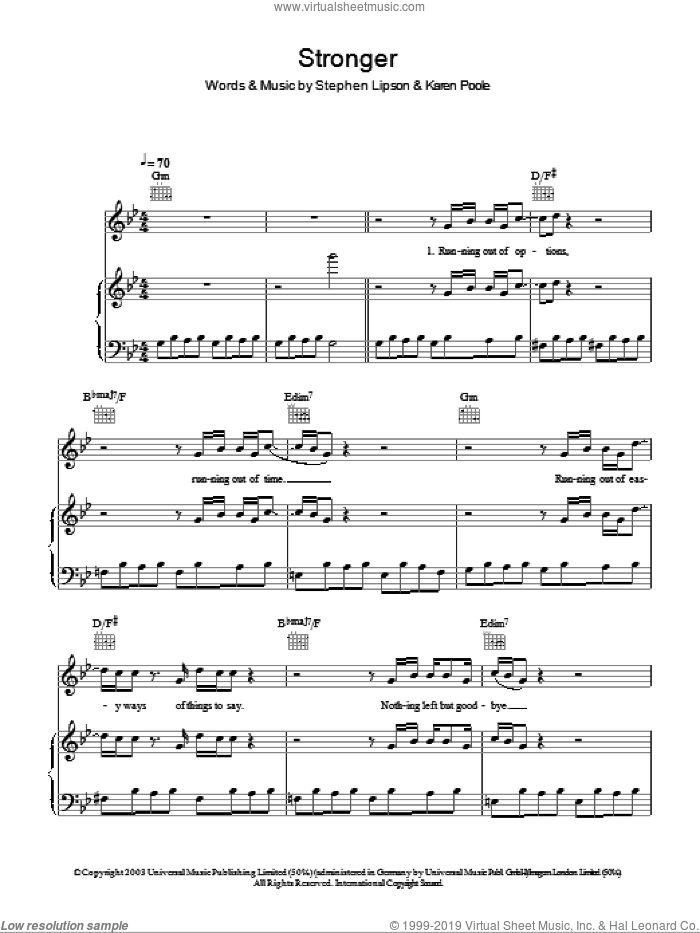 Stronger sheet music for voice, piano or guitar by Stephen Lipson