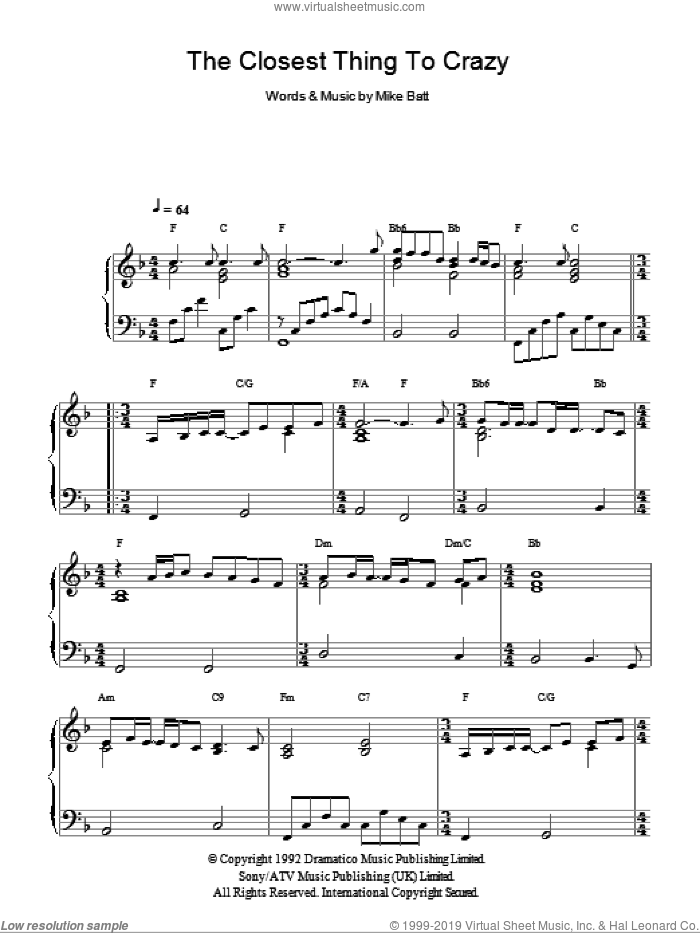The Closest Thing To Crazy sheet music for piano solo by Mike Batt
