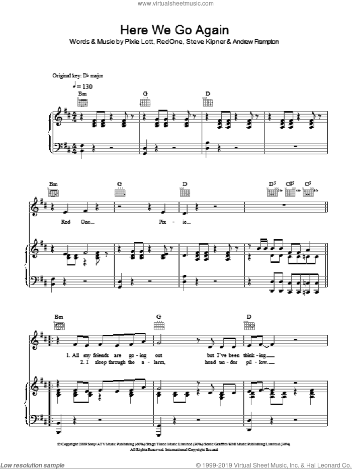 Here We Go Again sheet music for voice, piano or guitar by Steve Kipner, Andrew Frampton, Pixie Lott and RedOne. Score Image Preview.