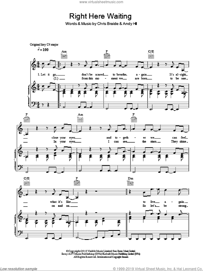 Right Here Waiting sheet music for voice, piano or guitar by Chris Braide, Boyzone and Andy Hill. Score Image Preview.