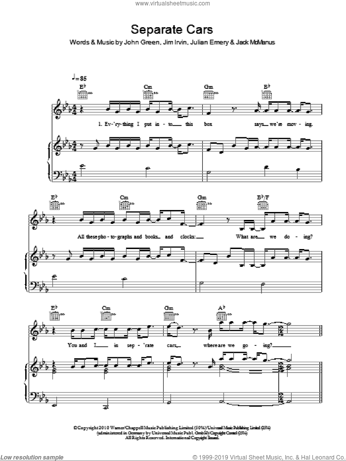 Separate Cars sheet music for voice, piano or guitar by Julian Emery