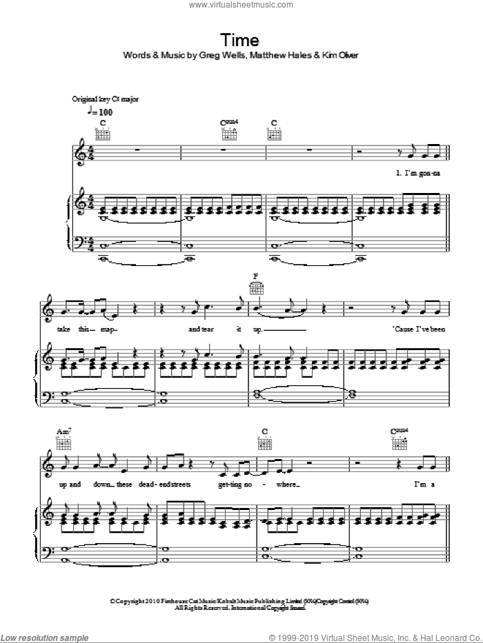 Time sheet music for voice, piano or guitar by Boyzone and Greg Wells. Score Image Preview.