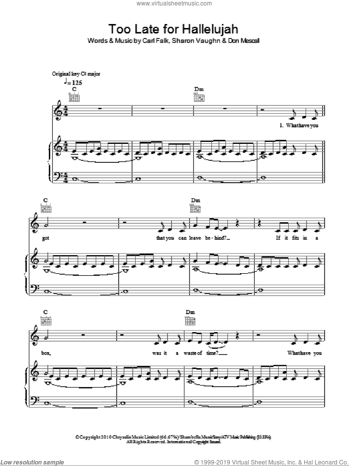 Too Late For Hallelujah sheet music for voice, piano or guitar by Boyzone and Sharon Vaughn, intermediate. Score Image Preview.