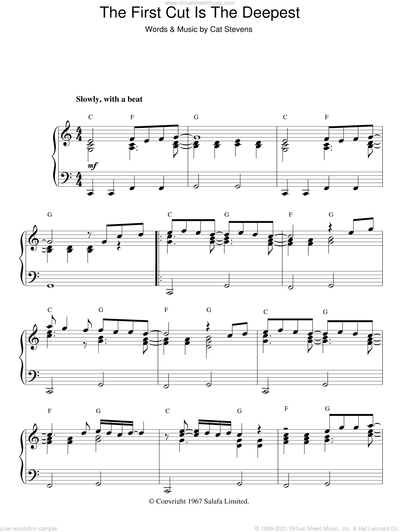 The First Cut Is The Deepest sheet music for piano solo by Cat Stevens and Sheryl Crow. Score Image Preview.