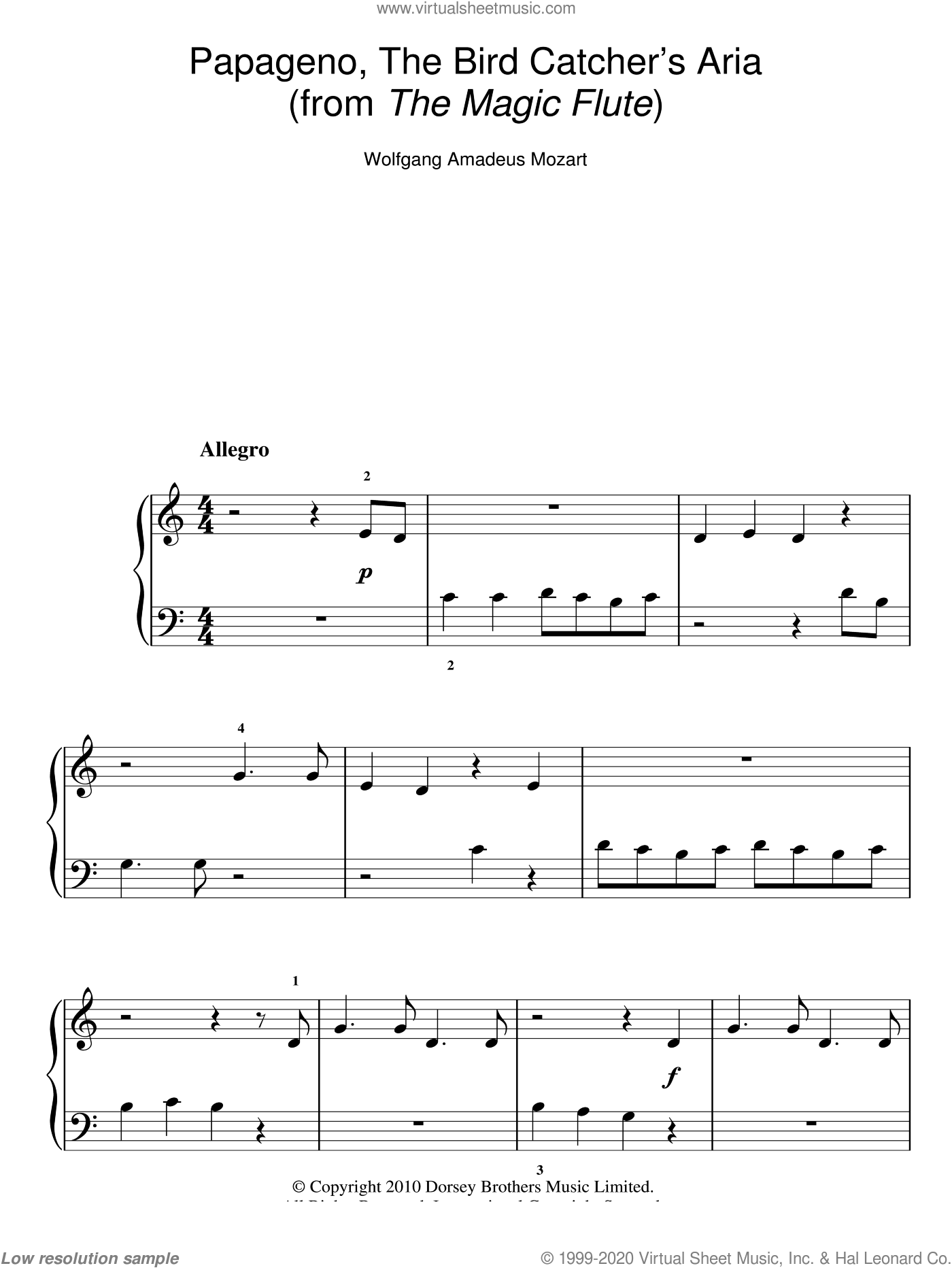 Papageno, The Bird Catcher's Aria (from The Magic Flute) sheet music for piano solo by Wolfgang Amadeus Mozart, classical score, easy skill level