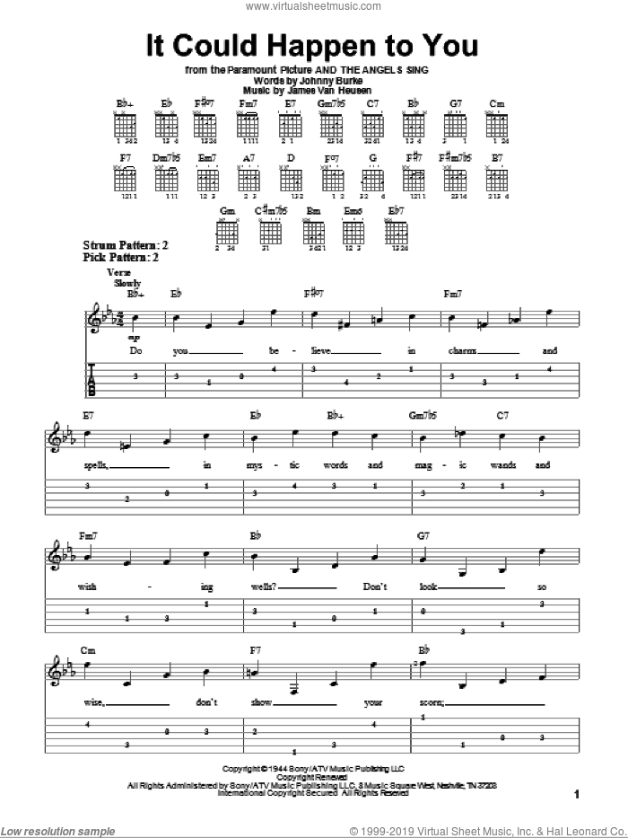 It Could Happen To You sheet music for guitar solo (easy tablature) by Frank Sinatra, Jimmy van Heusen and John Burke. Score Image Preview.
