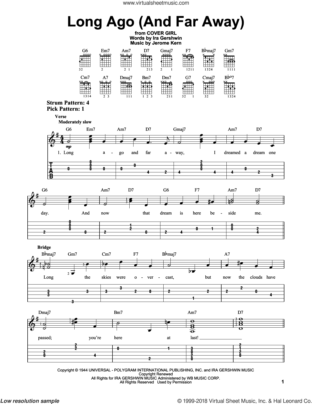 Long Ago (And Far Away) sheet music for guitar solo (easy tablature) by Ira Gershwin and Jerome Kern. Score Image Preview.