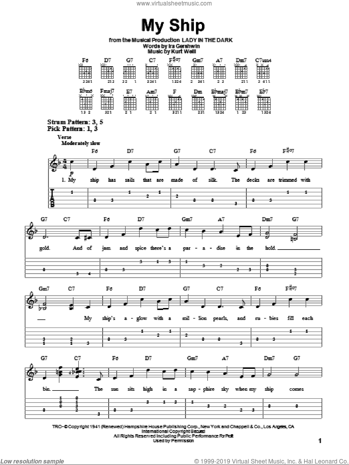 My Ship sheet music for guitar solo (easy tablature) by Ira Gershwin and Kurt Weill