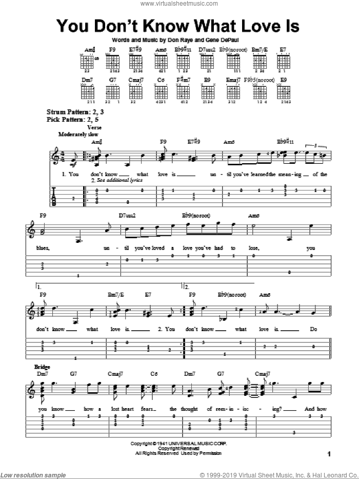 You Don't Know What Love Is sheet music for guitar solo (easy tablature) by Gene DePaul and Don Raye. Score Image Preview.