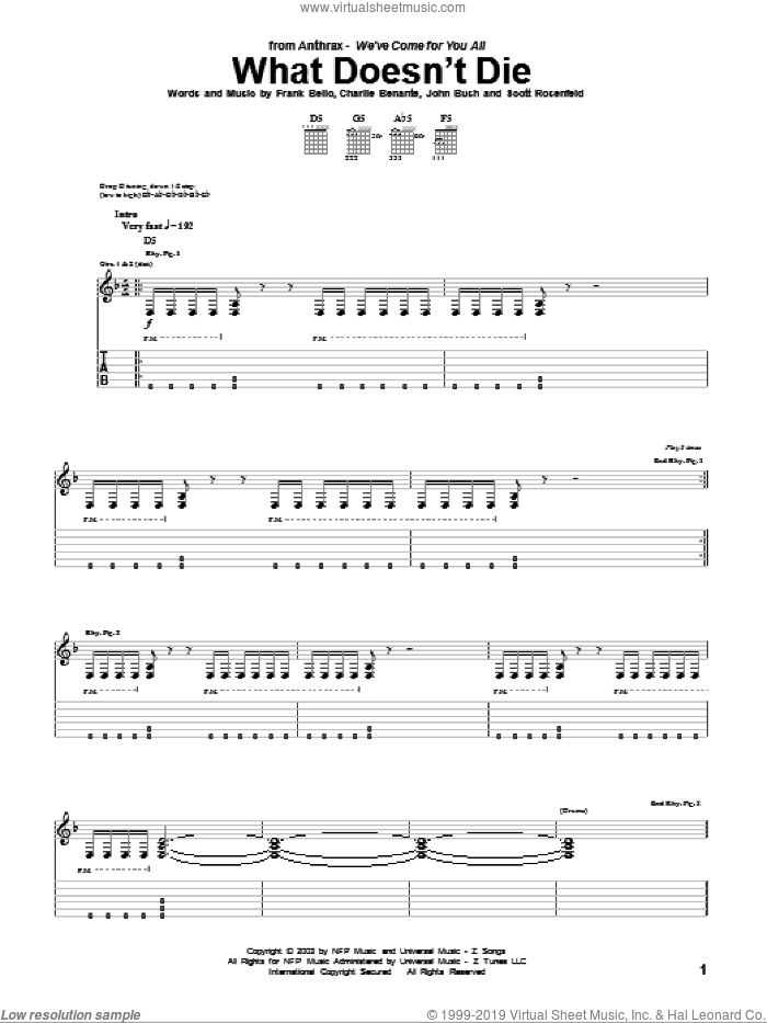 What Doesn't Die sheet music for guitar (tablature) by Scott Rosenfeld and Charlie Benante