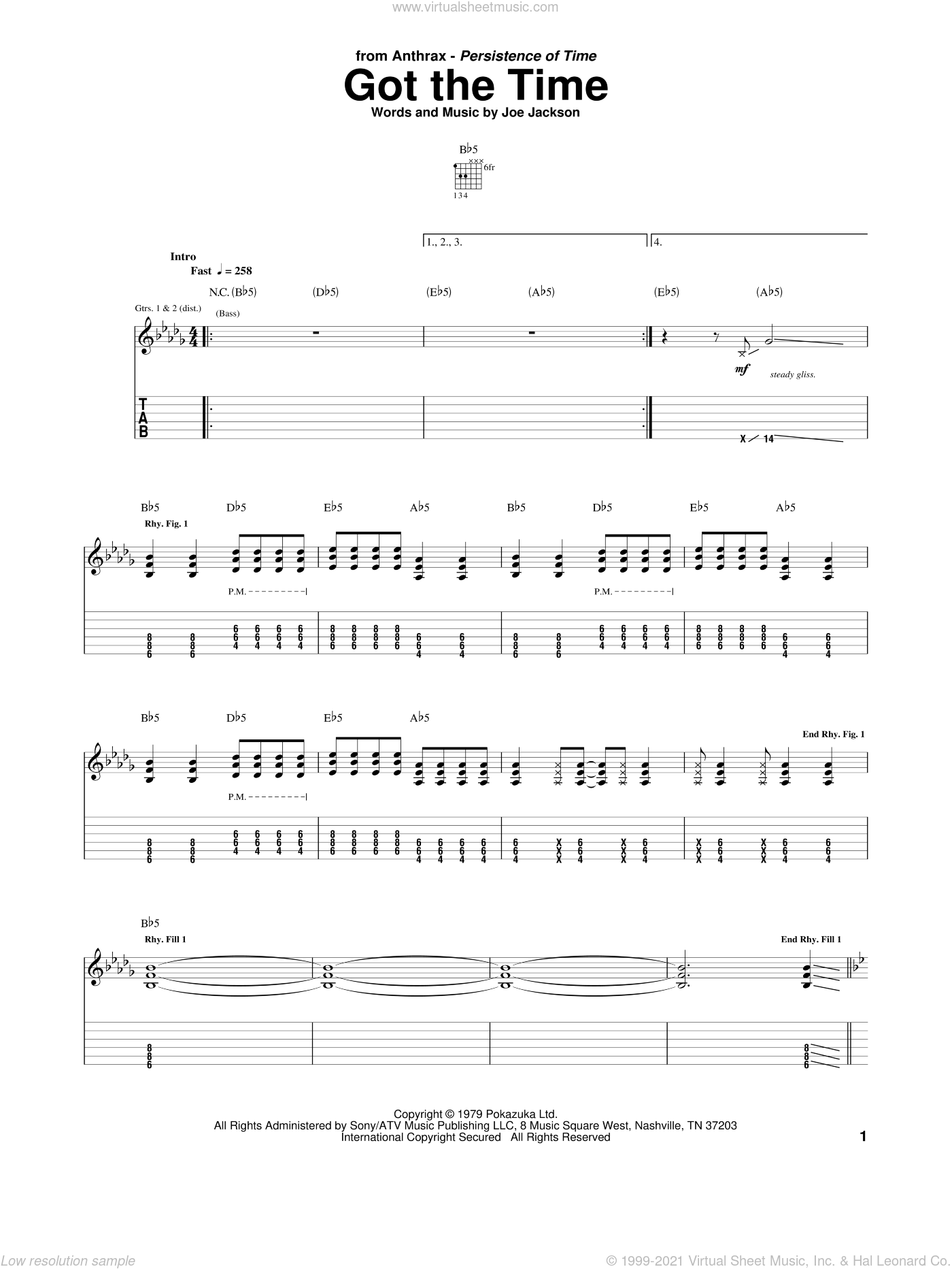 Got The Time sheet music for guitar (tablature) by Anthrax and Joe Jackson, intermediate skill level