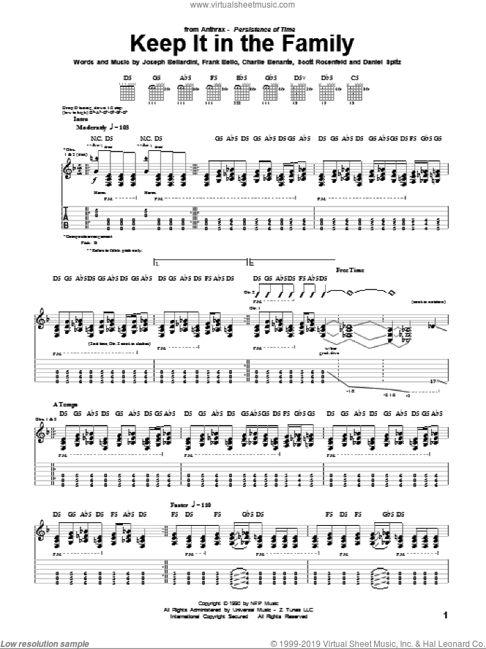 Keep It In The Family sheet music for guitar (tablature) by Anthrax. Score Image Preview.