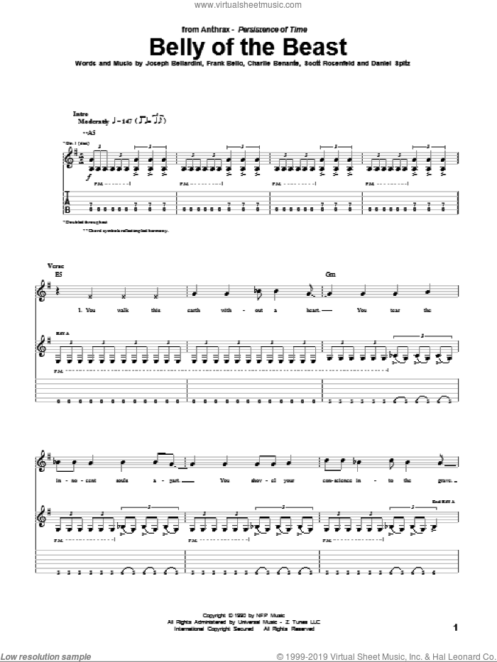 Belly Of The Beast sheet music for guitar (tablature) by Scott Rosenfeld and Charlie Benante. Score Image Preview.