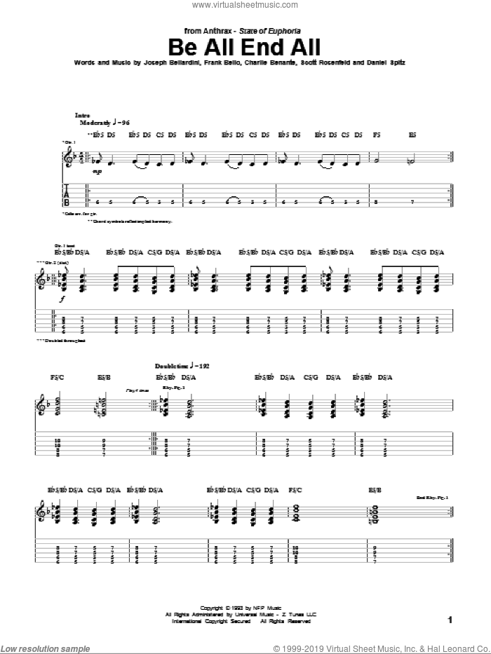 Be All End All sheet music for guitar (tablature) by Scott Rosenfeld and Charlie Benante. Score Image Preview.