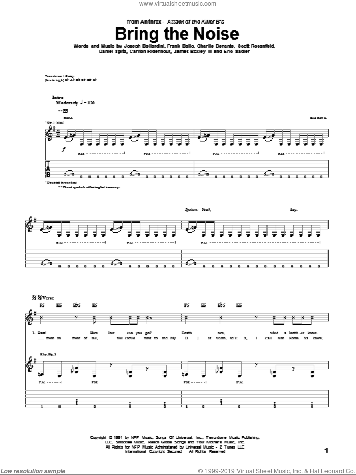 Bring The Noise sheet music for guitar (tablature) by Scott Rosenfeld and Charlie Benante. Score Image Preview.