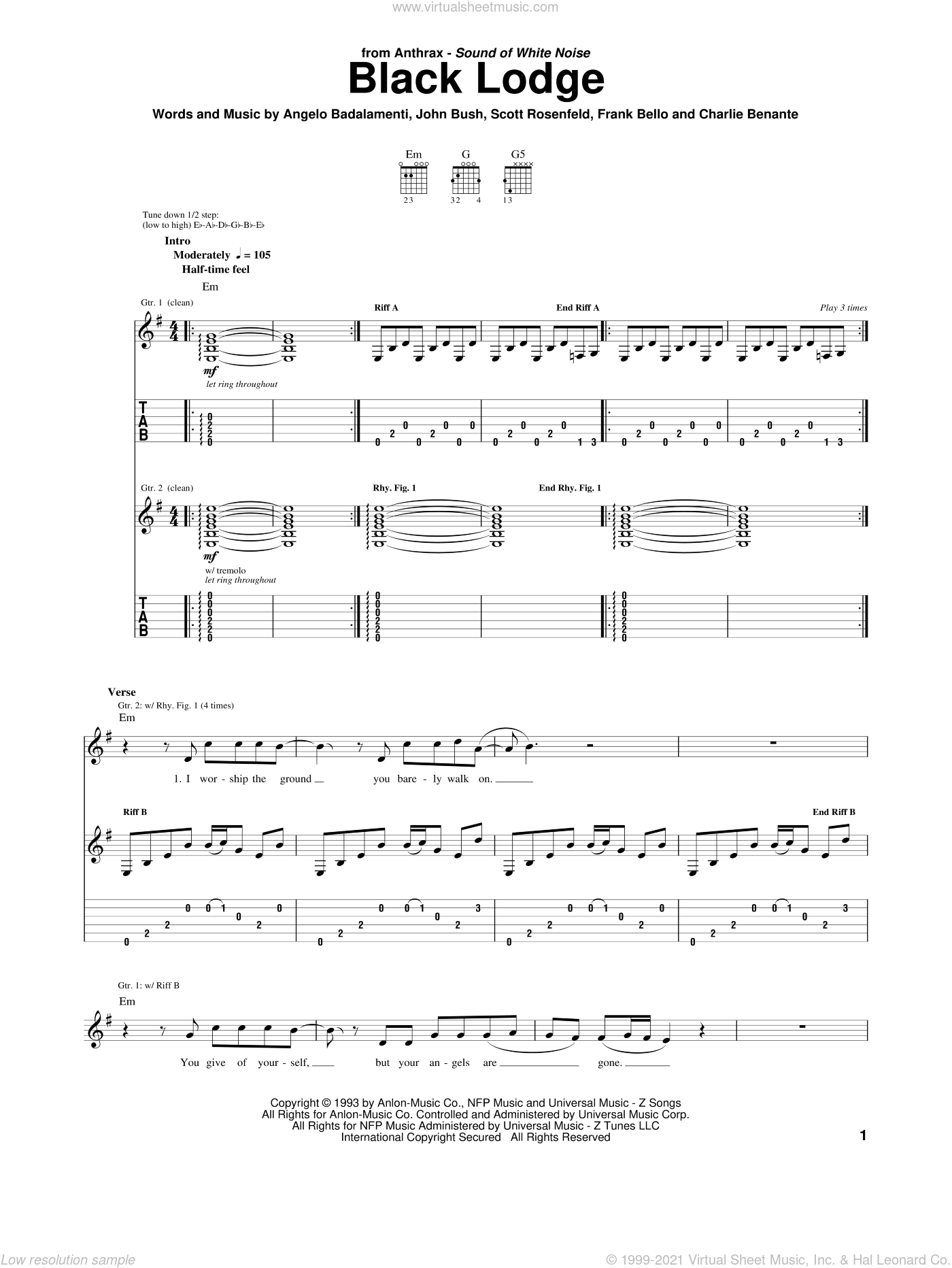 Black Lodge sheet music for guitar (tablature) by Anthrax, Angelo Badalamenti, Charlie Benante, Frank Bello, John Bush and Scott Rosenfeld, intermediate skill level
