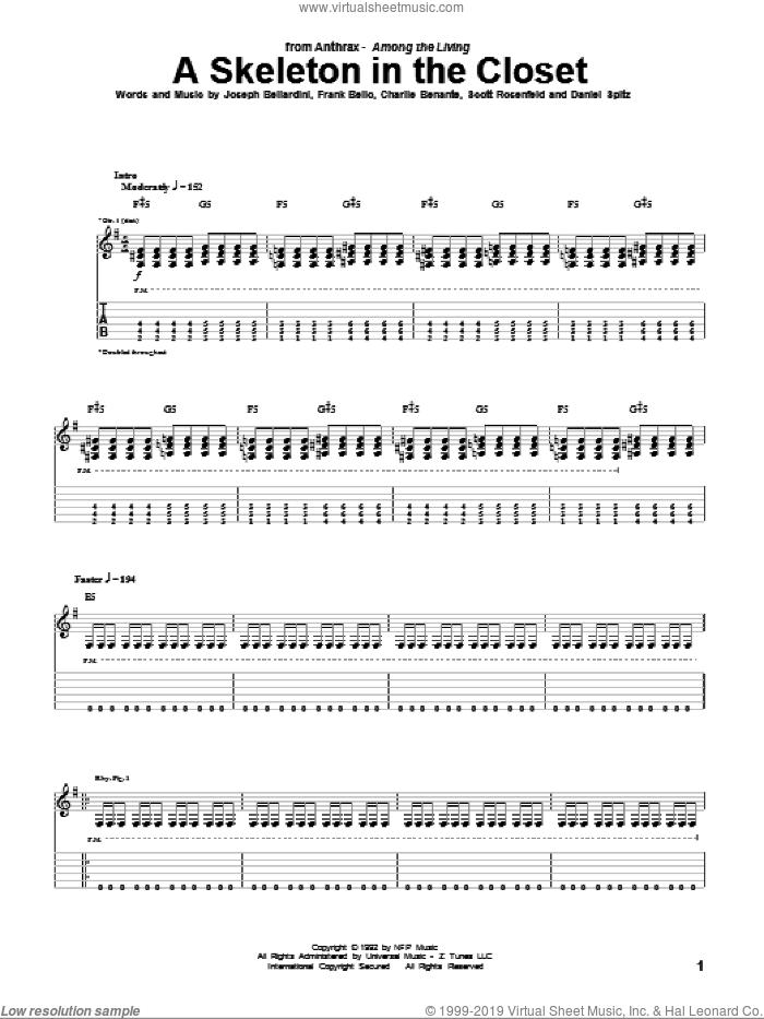 A Skeleton In The Closet sheet music for guitar (tablature) by Anthrax, Charlie Benante, Daniel Spitz, Frank Bello, Joseph Bellardini and Scott Rosenfeld, intermediate skill level