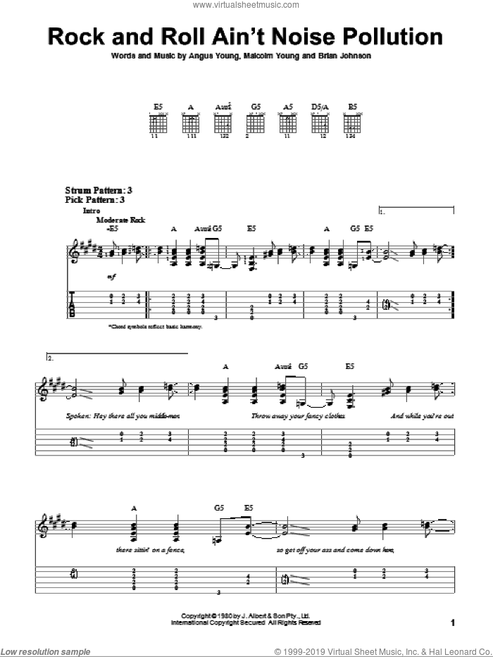 Rock And Roll Ain't Noise Pollution sheet music for guitar solo (easy tablature) by AC/DC, Angus Young, Brian Johnson and Malcolm Young, easy guitar (easy tablature)